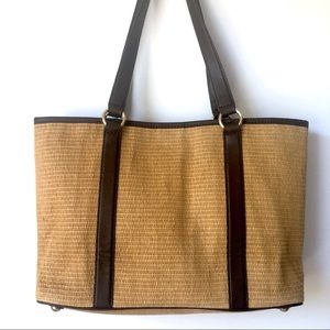 MICHEAL KORS RAFFIA STRAW SHOULDER BAG TOTE